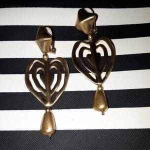 Gorgeous Clip On Dangle Heart Earrings